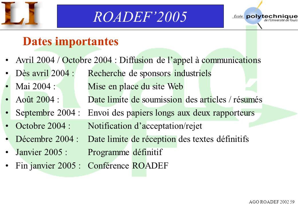 ROADEF'2005 Dates importantes