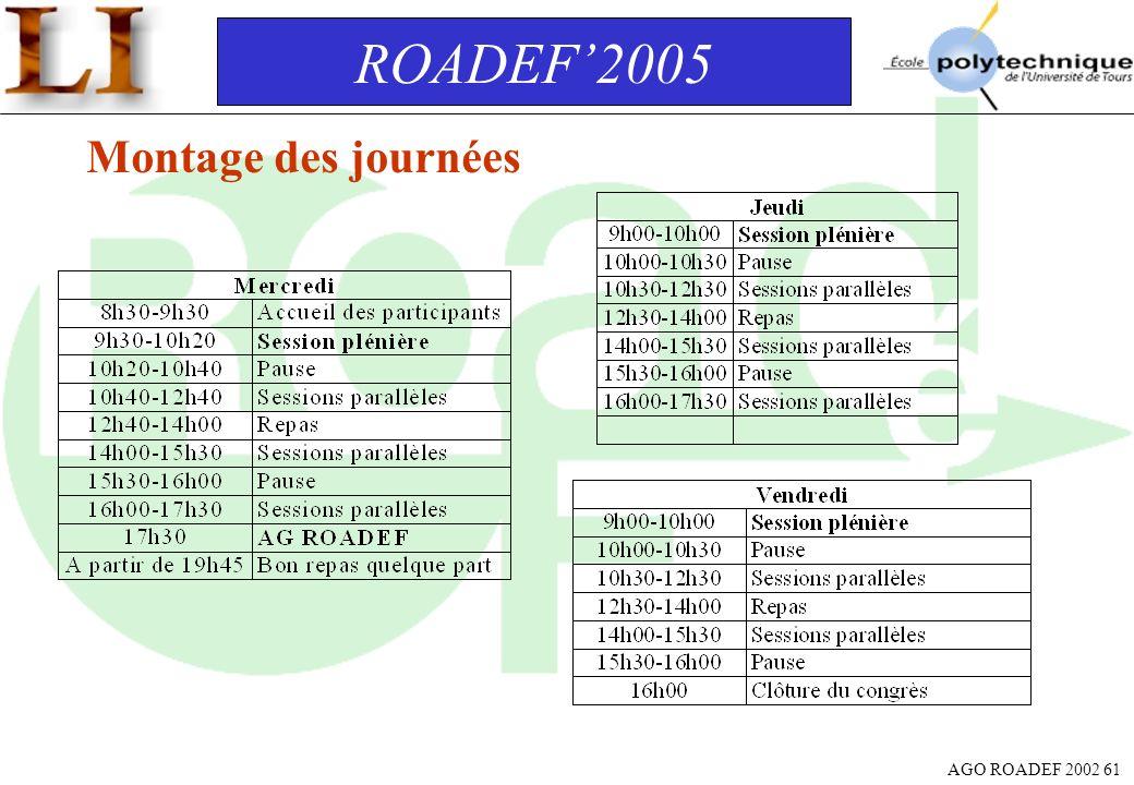 ROADEF'2005 Montage des journées