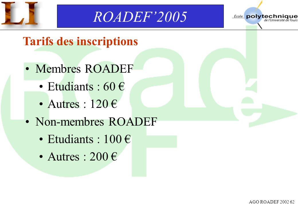 ROADEF'2005 Tarifs des inscriptions Membres ROADEF Etudiants : 60 €