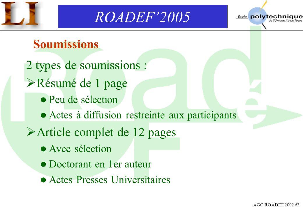 ROADEF'2005 Soumissions 2 types de soumissions : Résumé de 1 page