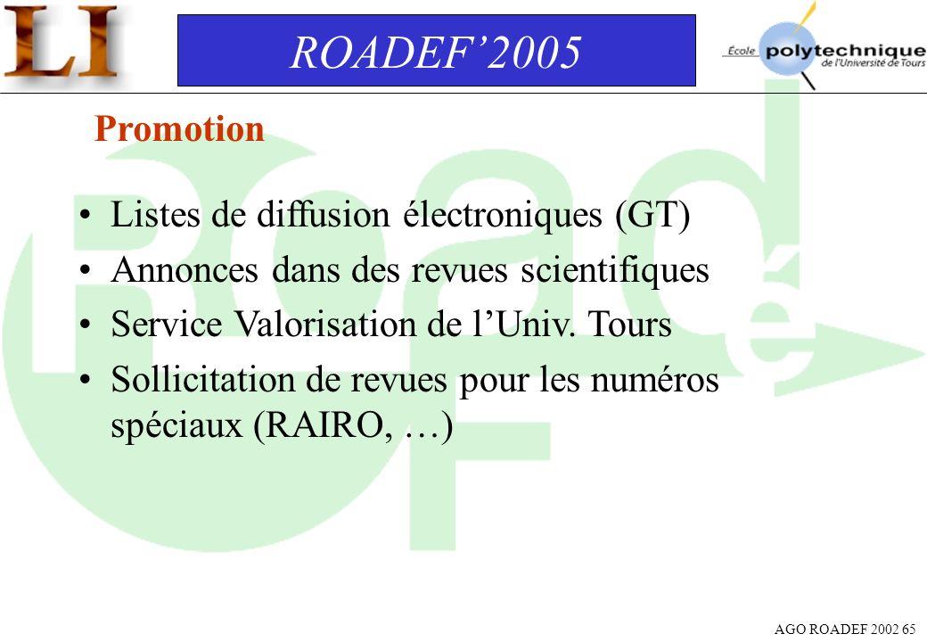 ROADEF'2005 Promotion Listes de diffusion électroniques (GT)