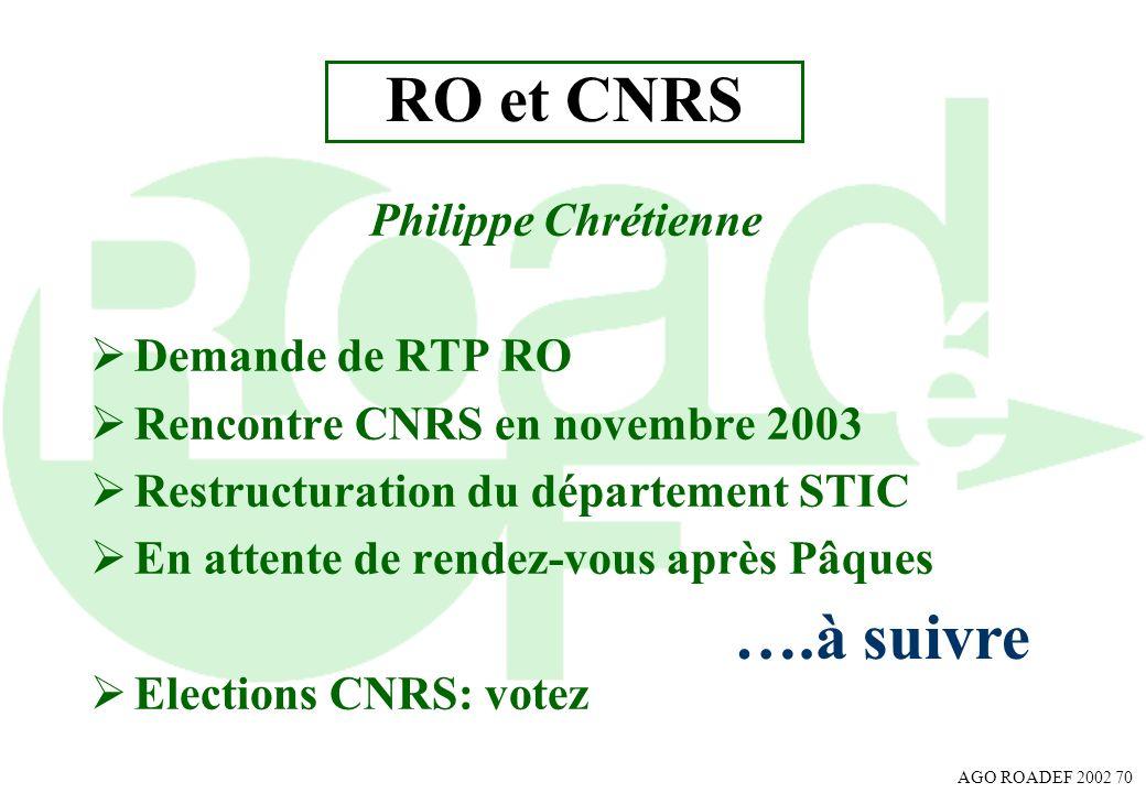 RO et CNRS ….à suivre Philippe Chrétienne Demande de RTP RO