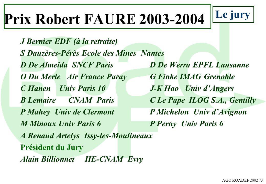 Prix Robert FAURE 2003-2004 Le jury J Bernier EDF (à la retraite)