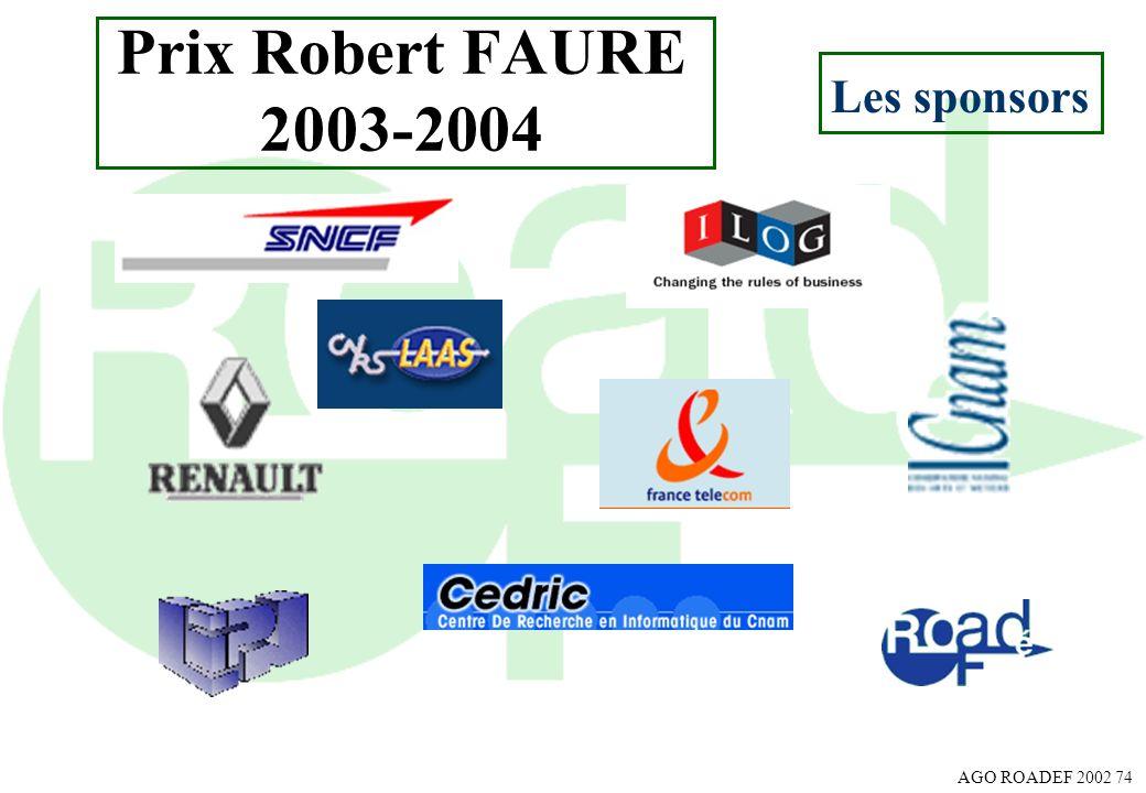 Prix Robert FAURE 2003-2004 Les sponsors