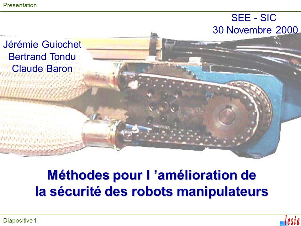 Méthodes pour l 'amélioration de la sécurité des robots manipulateurs