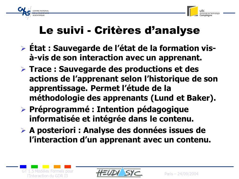 Le suivi - Critères d'analyse