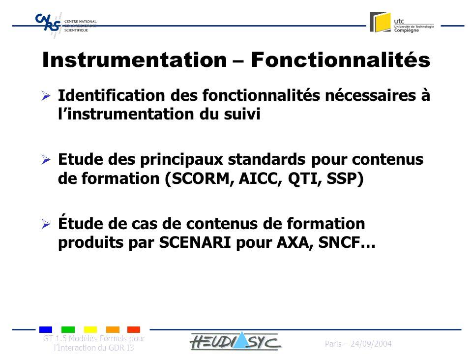 Instrumentation – Fonctionnalités
