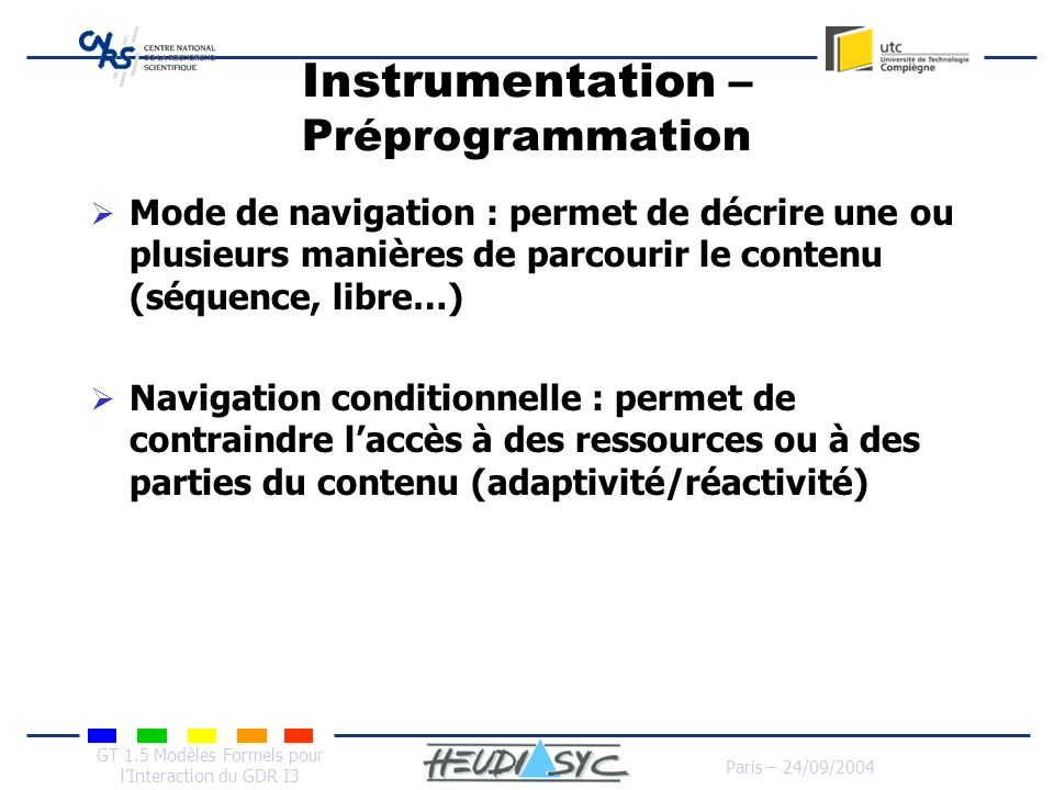 Instrumentation – Préprogrammation