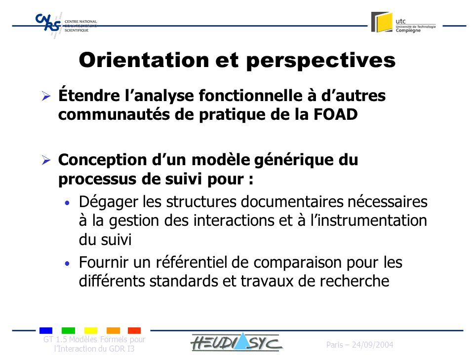 Orientation et perspectives