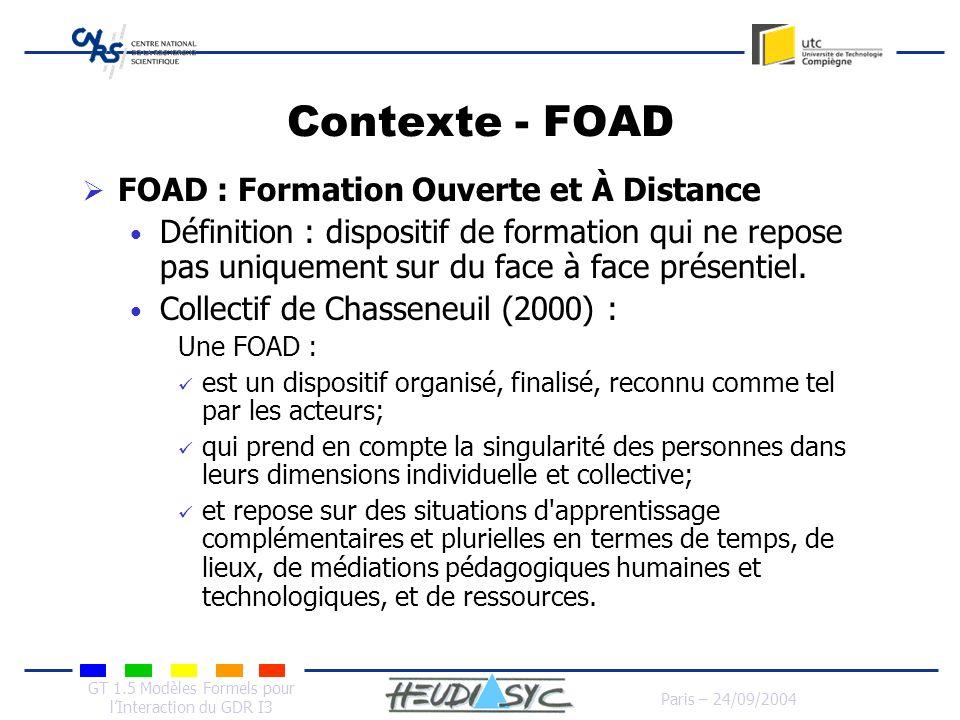 Contexte - FOAD FOAD : Formation Ouverte et À Distance