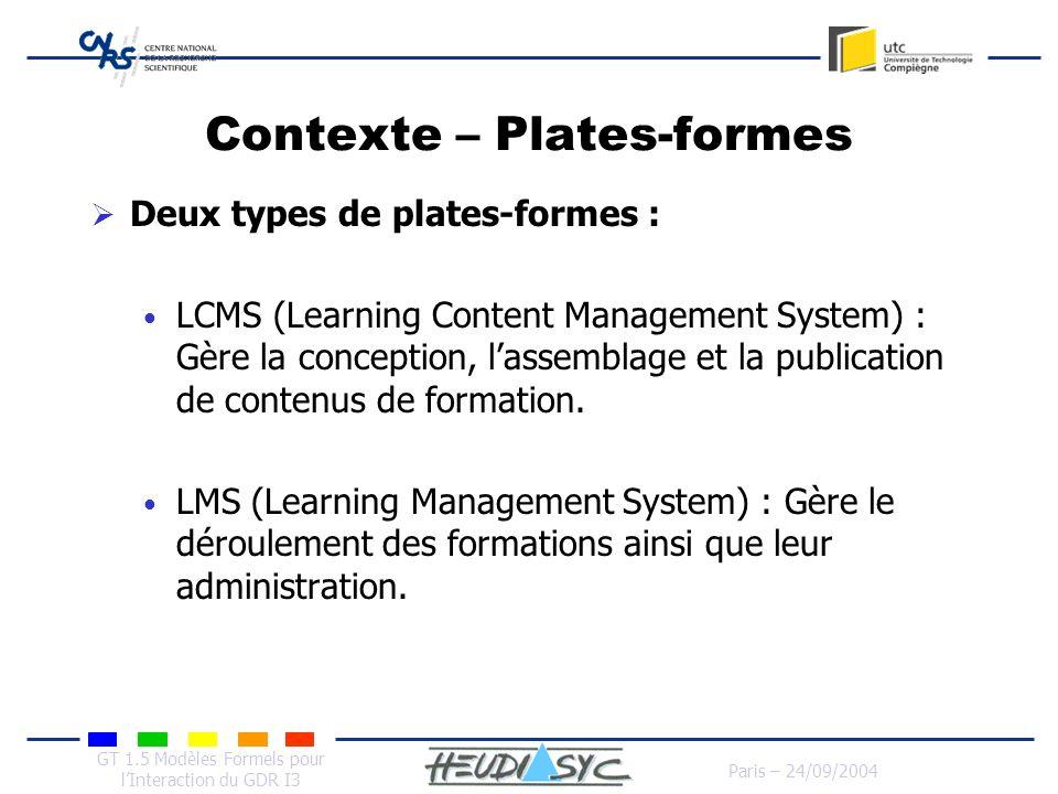 Contexte – Plates-formes