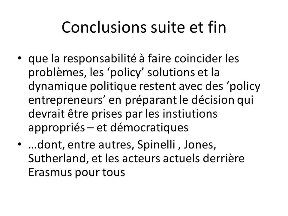Conclusions suite et fin