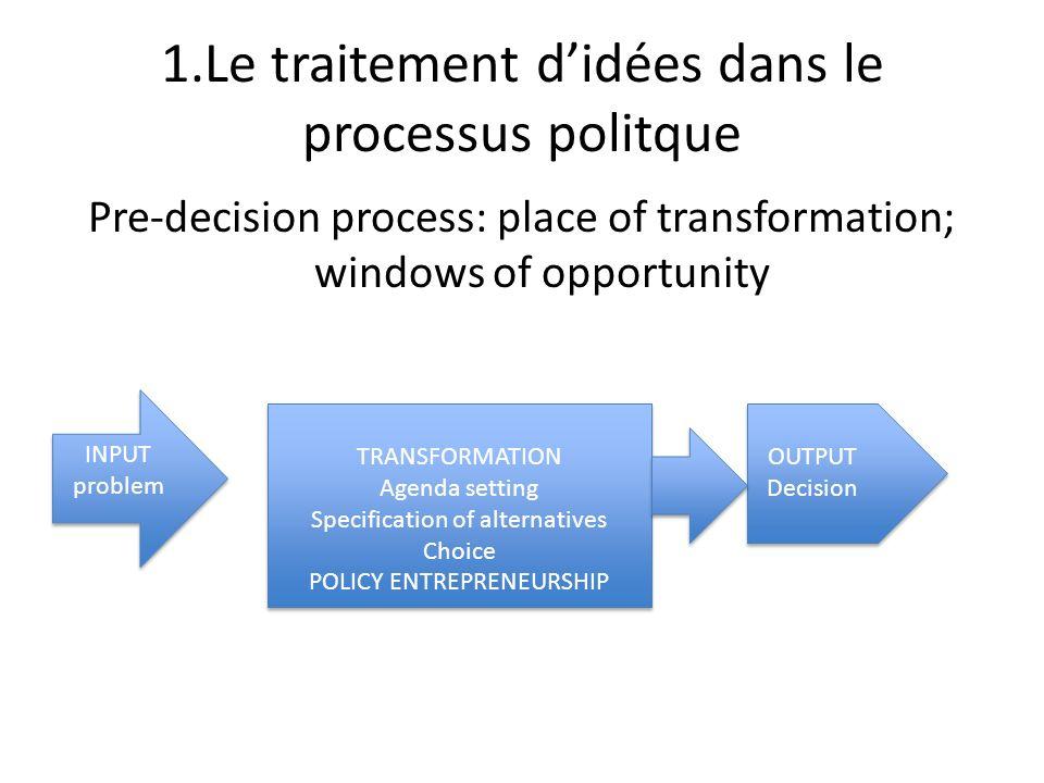 1.Le traitement d'idées dans le processus politque