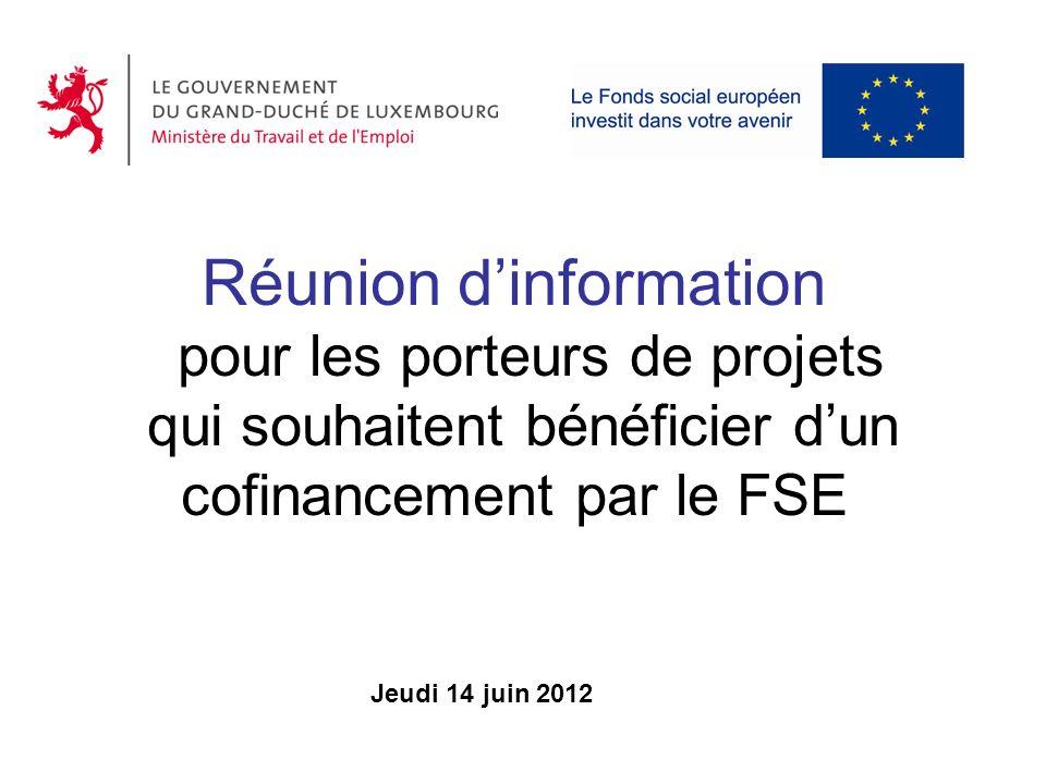 Réunion d'information pour les porteurs de projets qui souhaitent bénéficier d'un cofinancement par le FSE