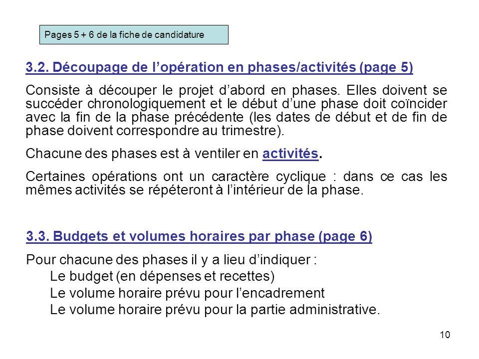 3.2. Découpage de l'opération en phases/activités (page 5)