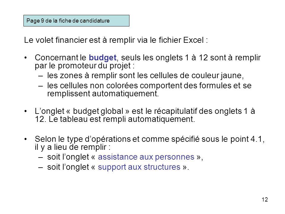Le volet financier est à remplir via le fichier Excel :