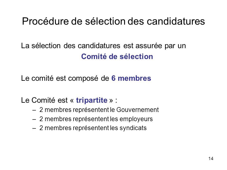 Procédure de sélection des candidatures