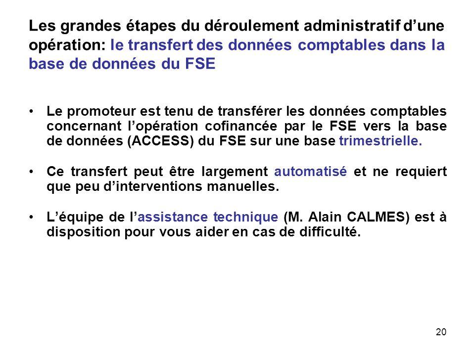 Les grandes étapes du déroulement administratif d'une opération: le transfert des données comptables dans la base de données du FSE