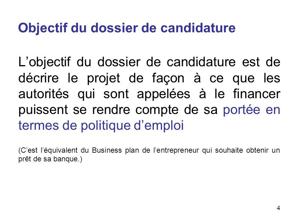 Objectif du dossier de candidature