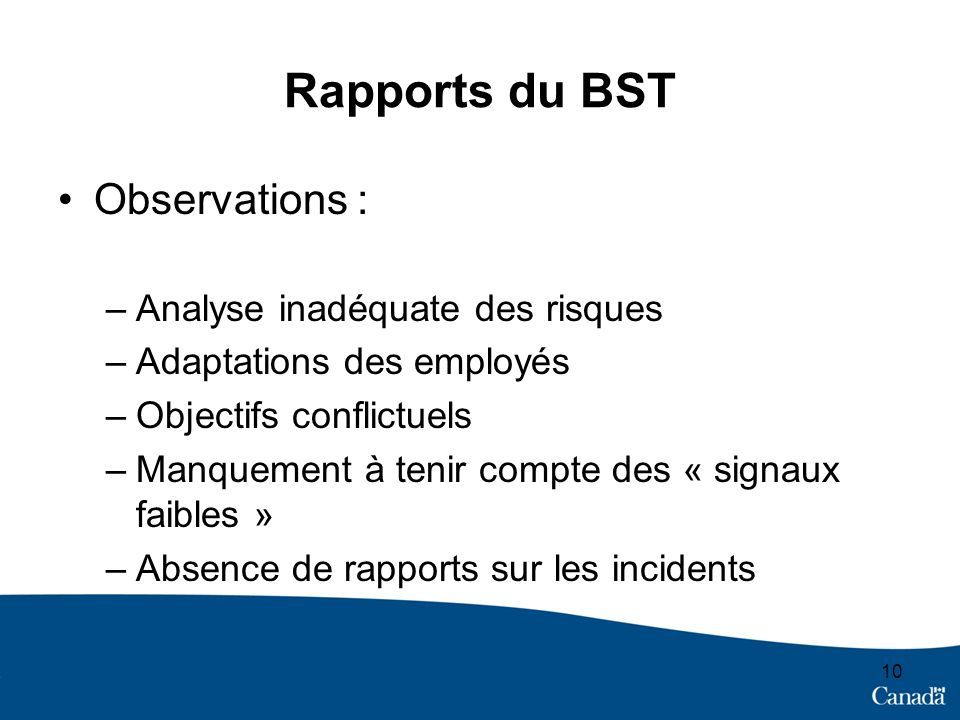 Rapports du BST Observations : Analyse inadéquate des risques