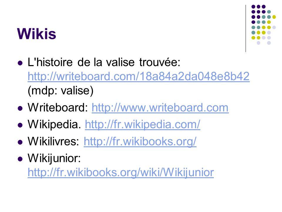 Wikis L histoire de la valise trouvée: http://writeboard.com/18a84a2da048e8b42 (mdp: valise) Writeboard: http://www.writeboard.com.