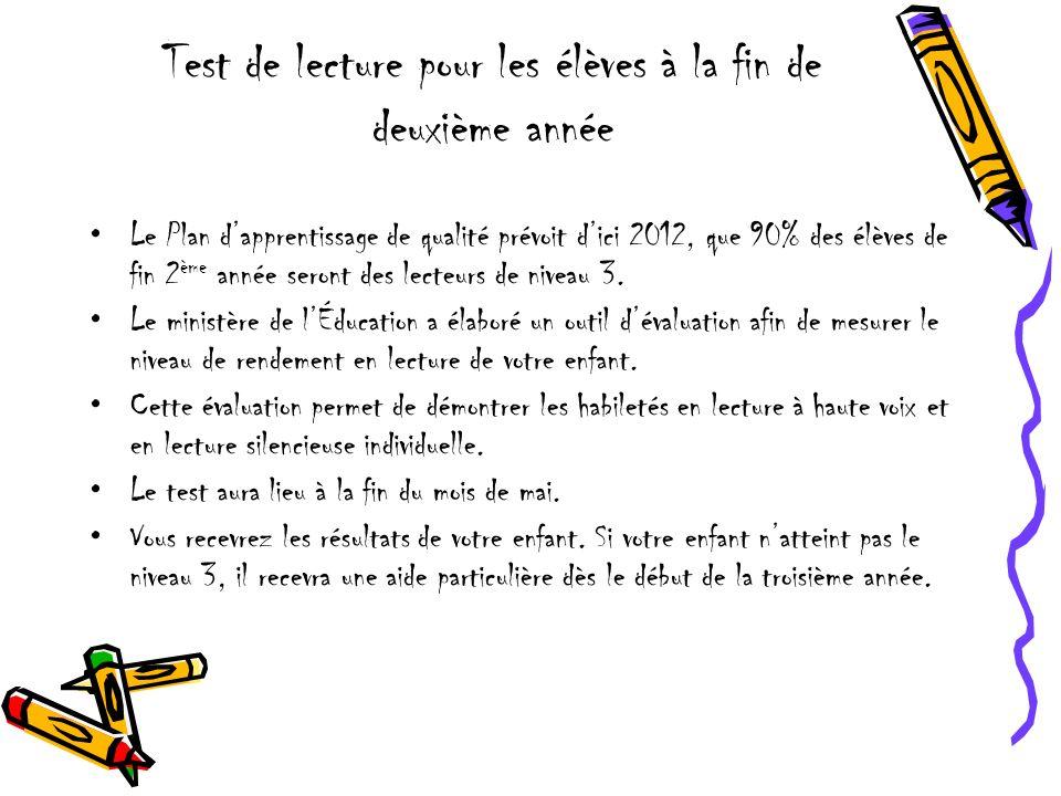 Test de lecture pour les élèves à la fin de deuxième année