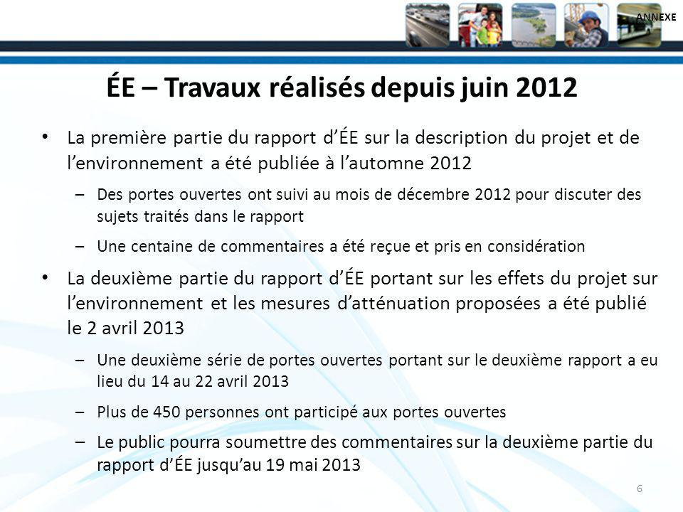 ÉE – Travaux réalisés depuis juin 2012