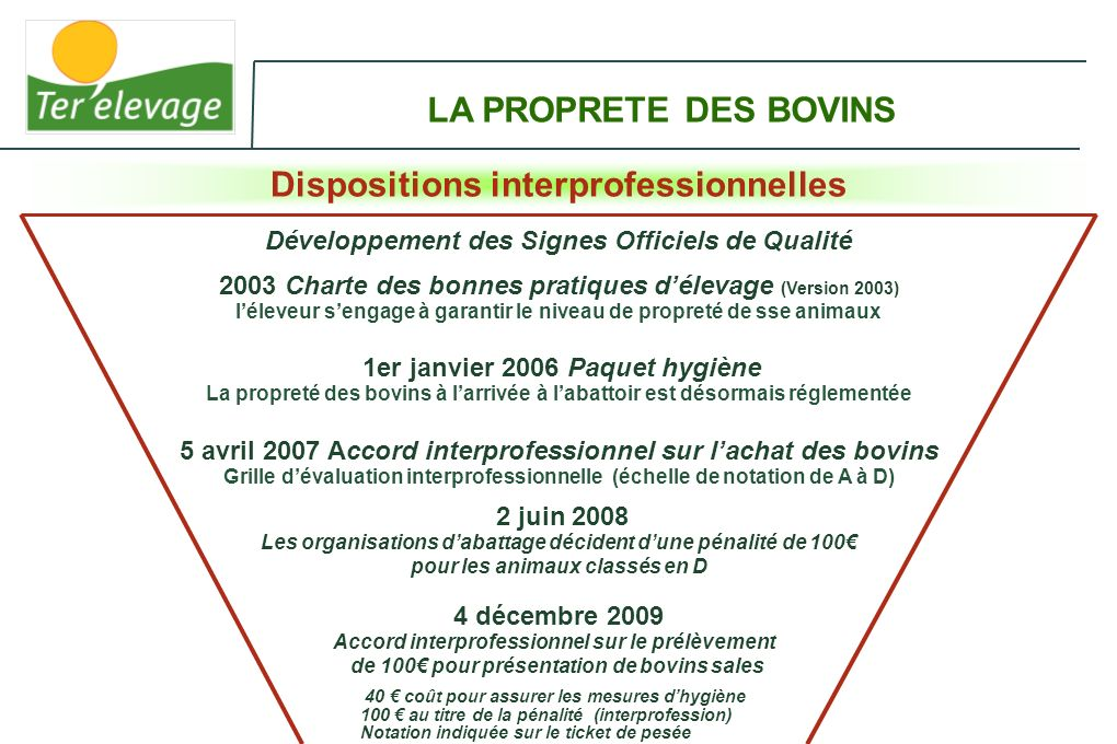 LA PROPRETE DES BOVINS Dispositions interprofessionnelles