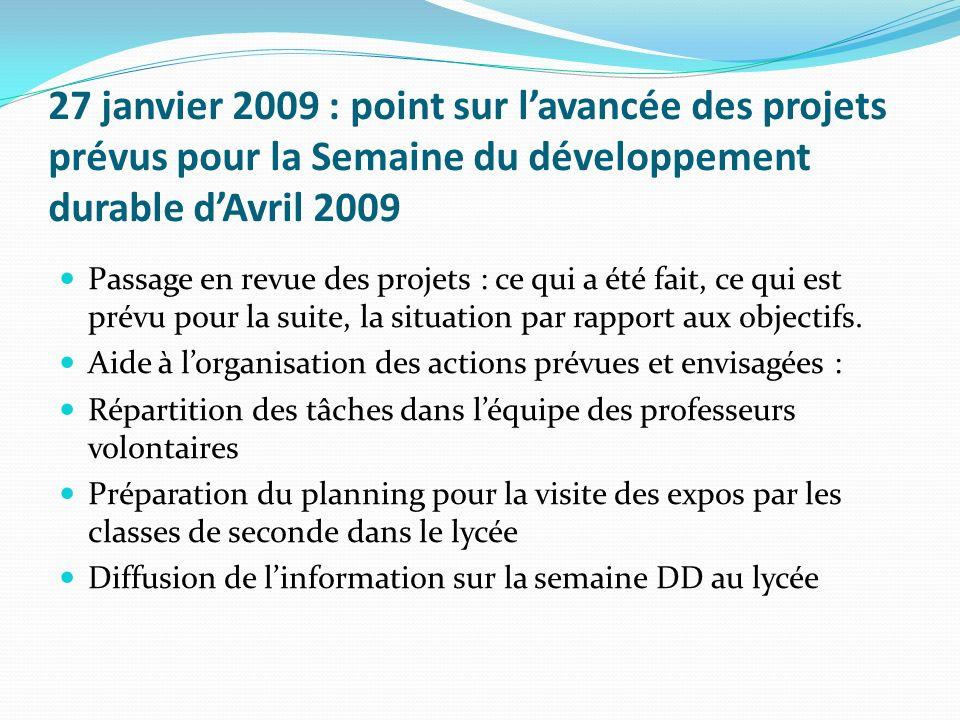27 janvier 2009 : point sur l'avancée des projets prévus pour la Semaine du développement durable d'Avril 2009