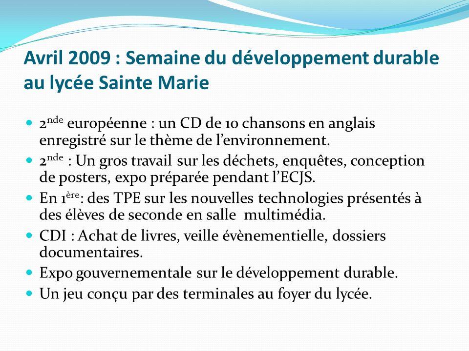Avril 2009 : Semaine du développement durable au lycée Sainte Marie