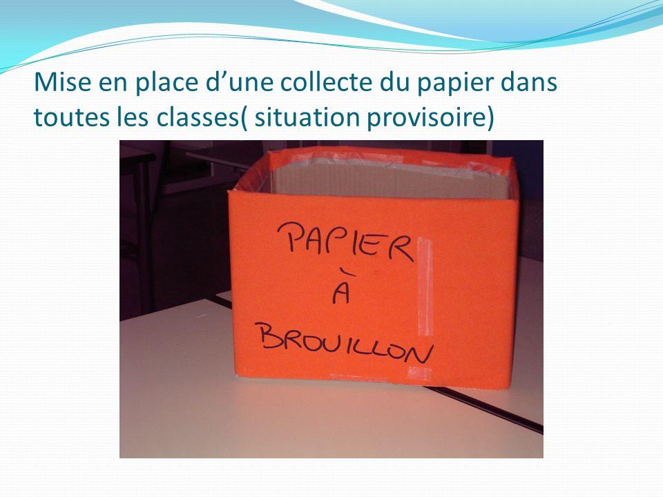 Mise en place d'une collecte du papier dans toutes les classes( situation provisoire)