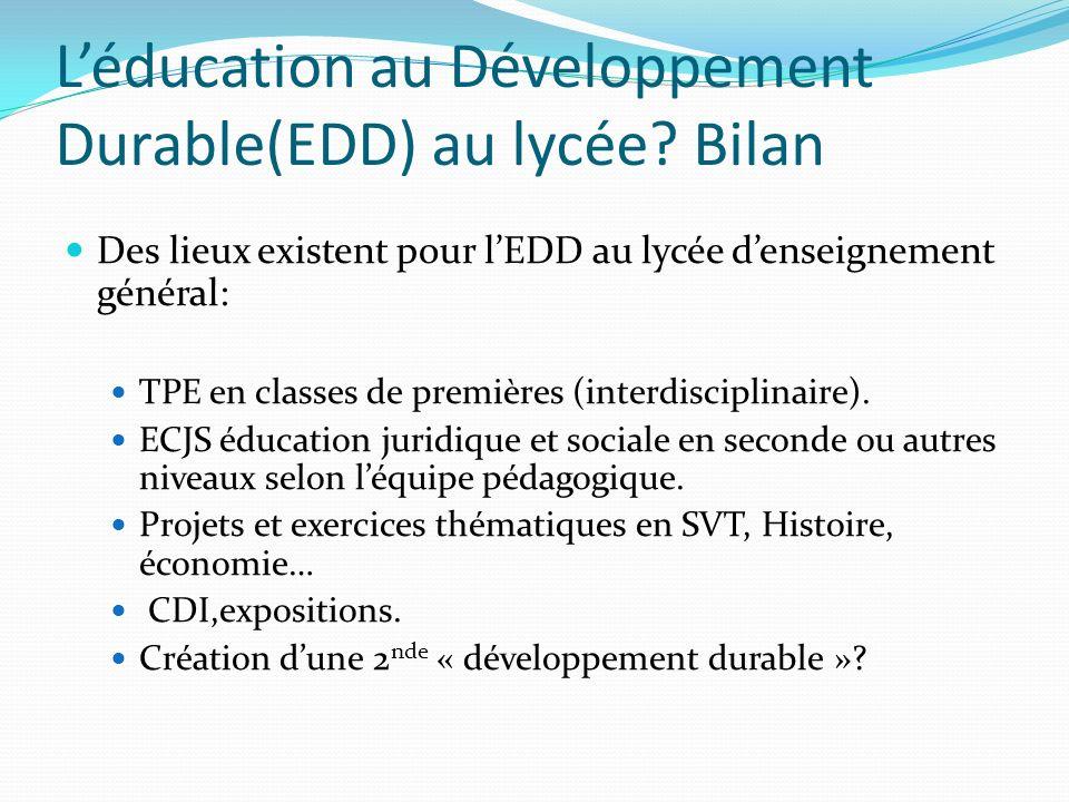 L'éducation au Développement Durable(EDD) au lycée Bilan