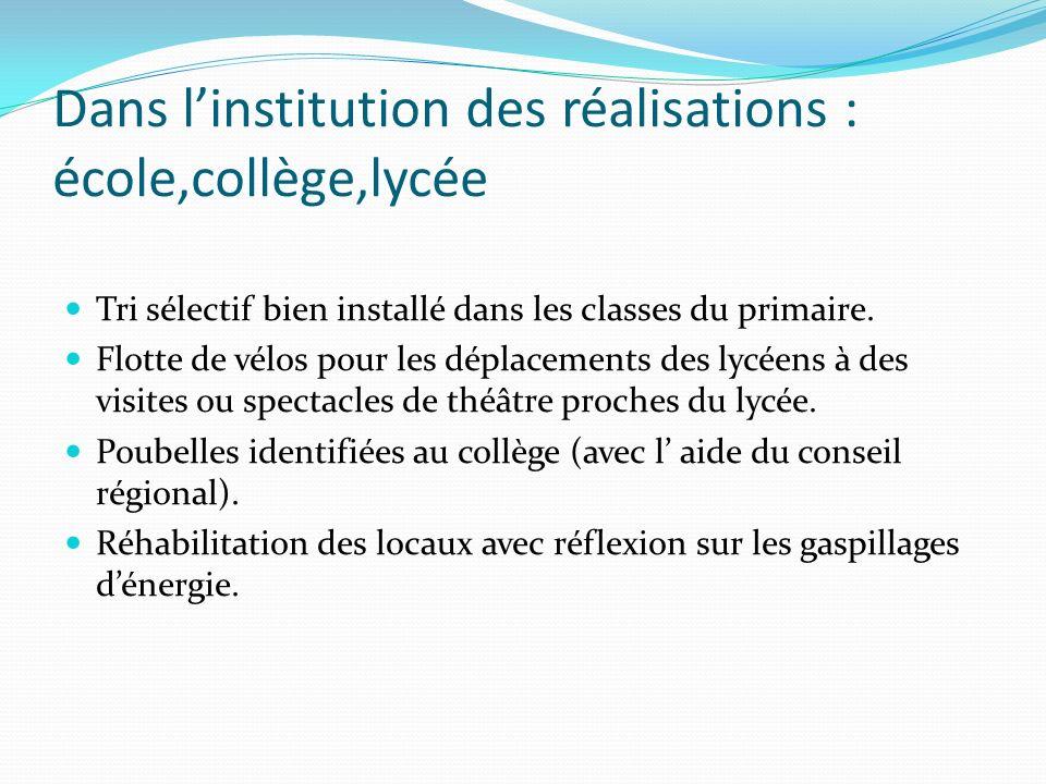 Dans l'institution des réalisations : école,collège,lycée
