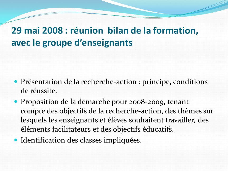 29 mai 2008 : réunion bilan de la formation, avec le groupe d'enseignants