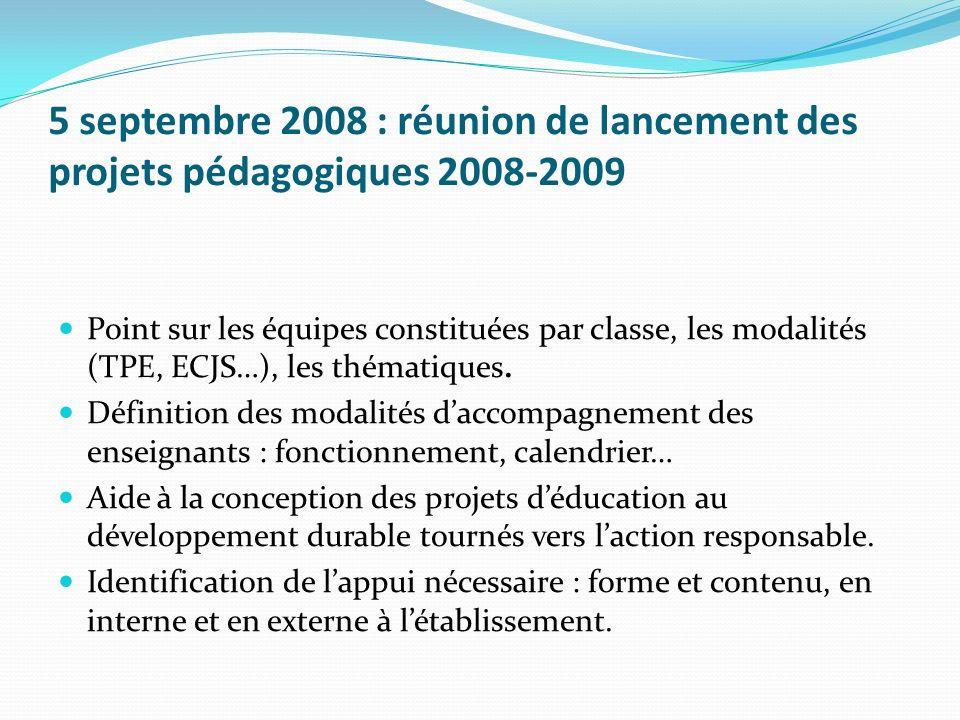 5 septembre 2008 : réunion de lancement des projets pédagogiques 2008-2009