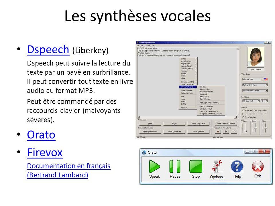 Les synthèses vocales Dspeech (Liberkey) Orato Firevox