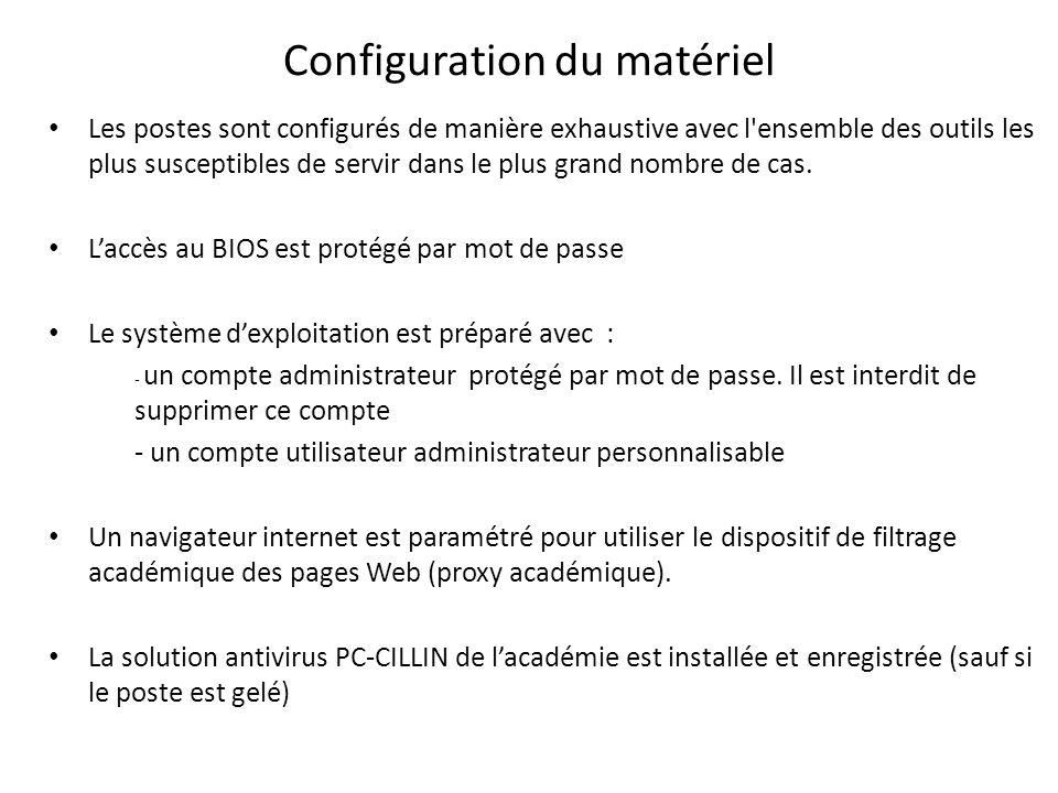Configuration du matériel