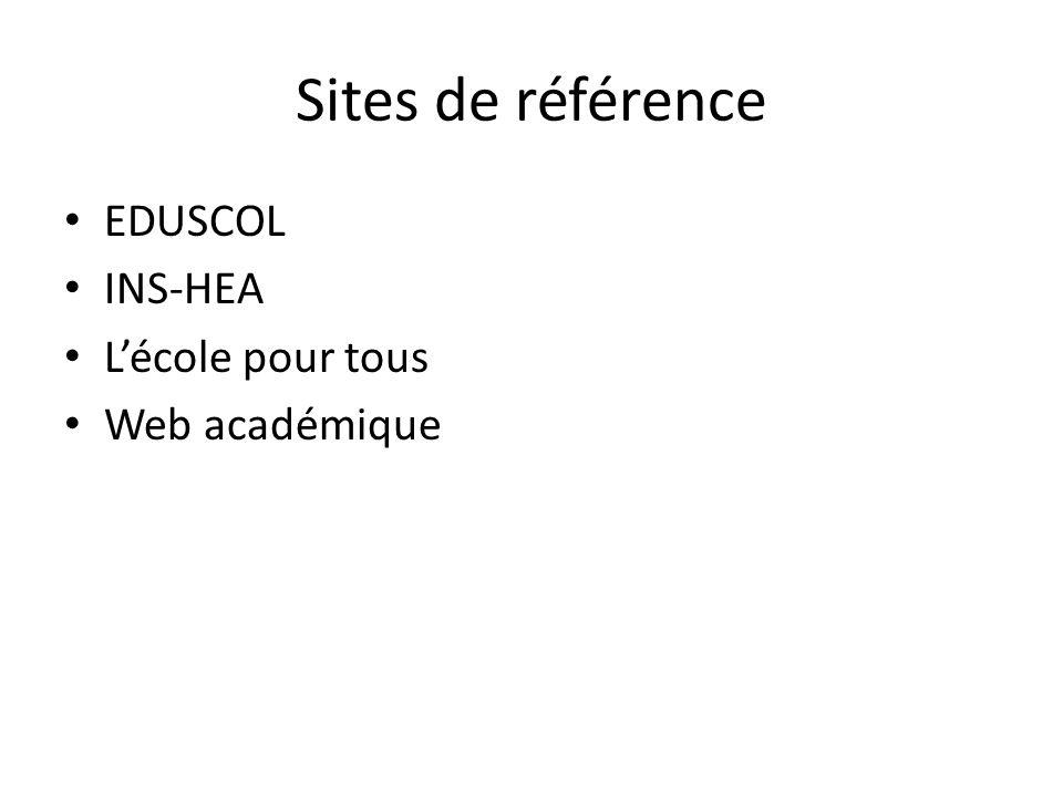 Sites de référence EDUSCOL INS-HEA L'école pour tous Web académique