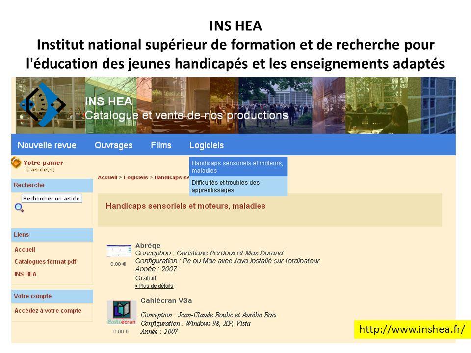 INS HEA Institut national supérieur de formation et de recherche pour l éducation des jeunes handicapés et les enseignements adaptés