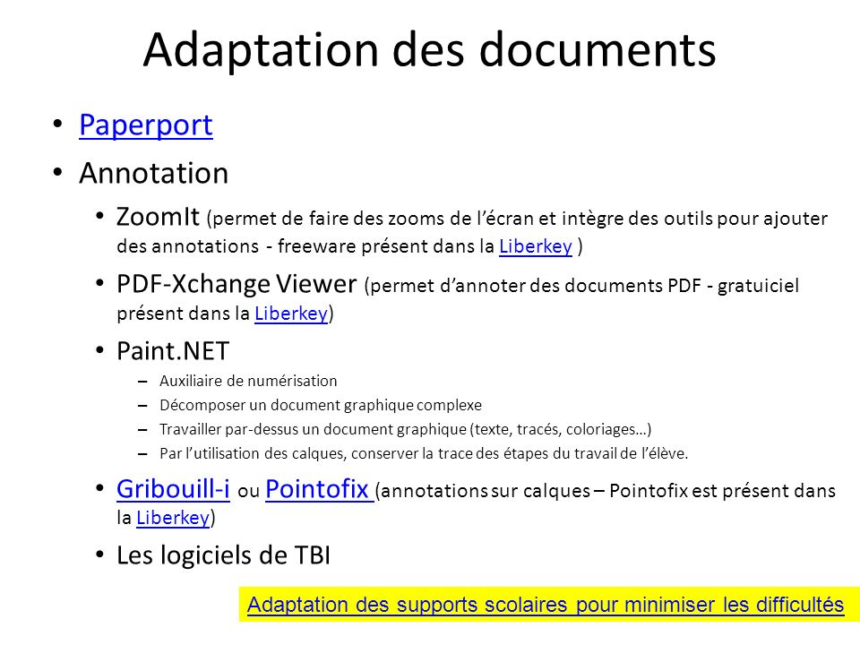 Adaptation des documents