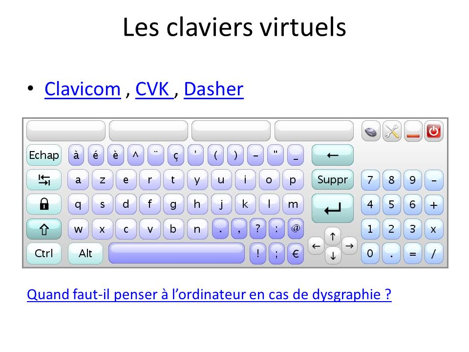Les claviers virtuels Clavicom , CVK , Dasher