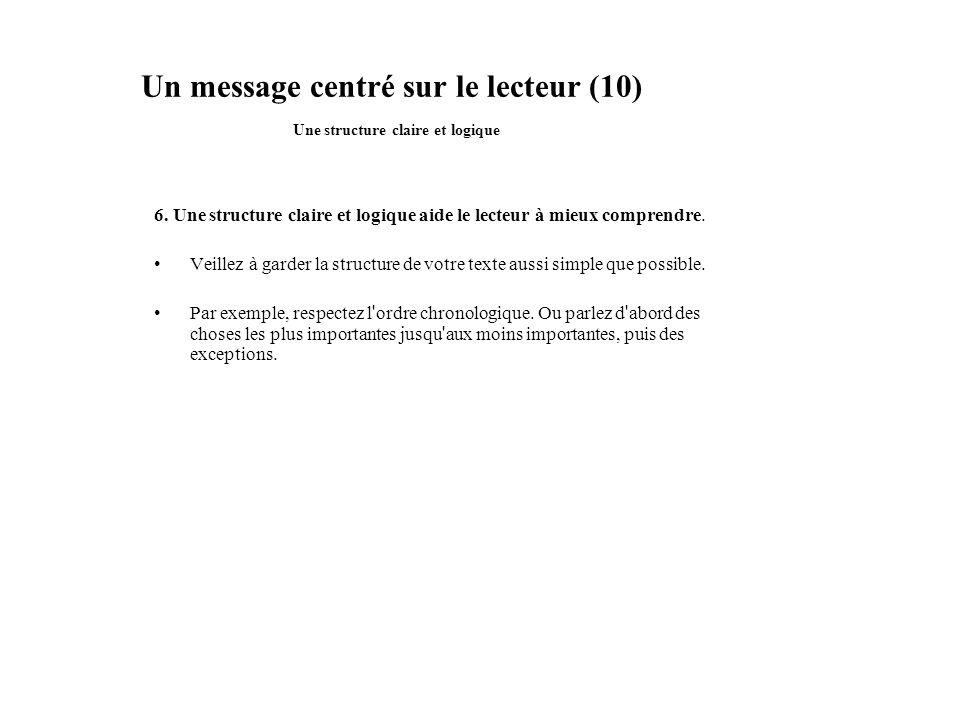 Un message centré sur le lecteur (10) Une structure claire et logique