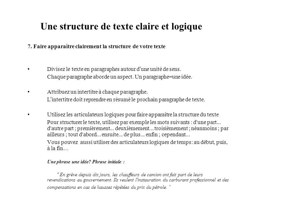 Une structure de texte claire et logique