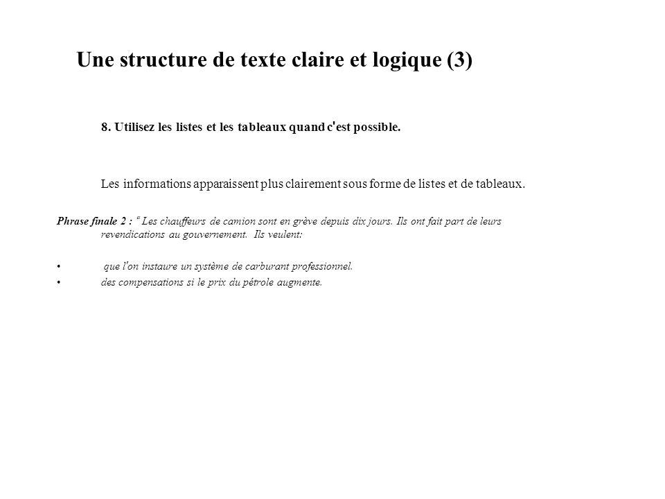 Une structure de texte claire et logique (3)