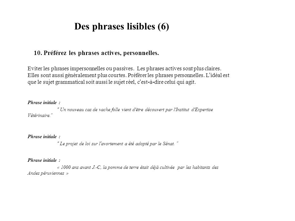 Des phrases lisibles (6)