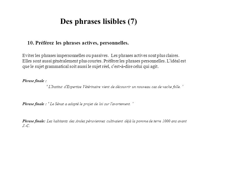 Des phrases lisibles (7)