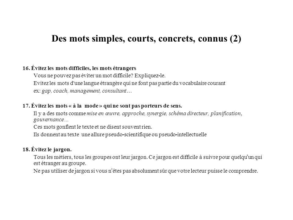 Des mots simples, courts, concrets, connus (2)