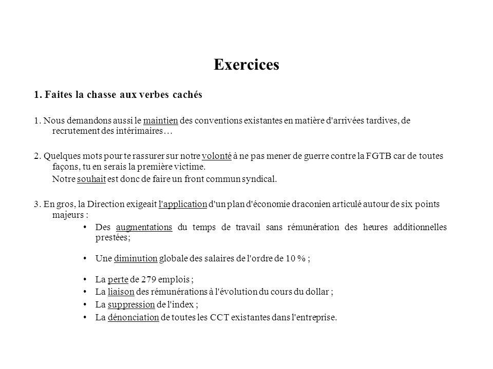 Exercices 1. Faites la chasse aux verbes cachés
