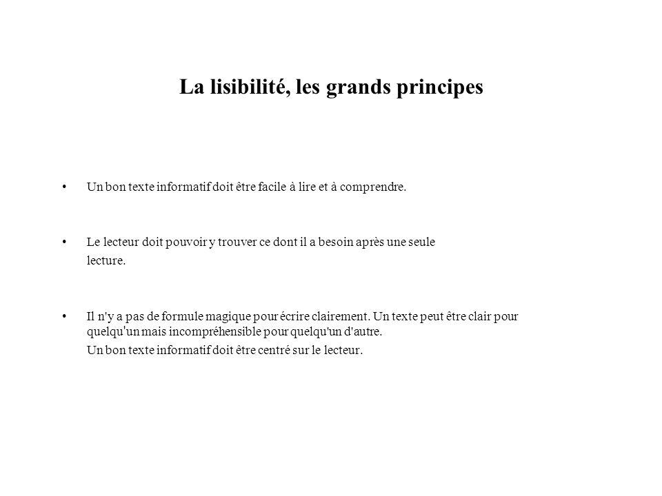 La lisibilité, les grands principes