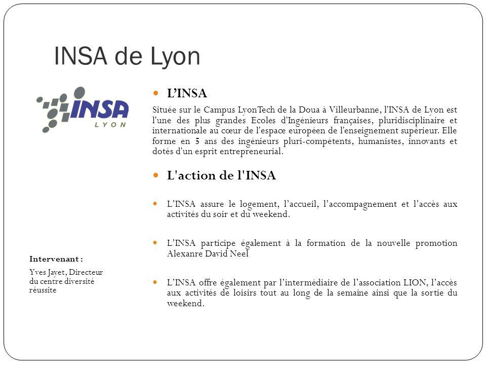 INSA de Lyon L'INSA L action de l INSA